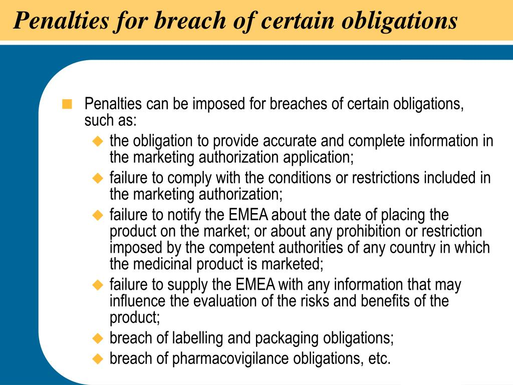 Penalties for breach of certain obligations