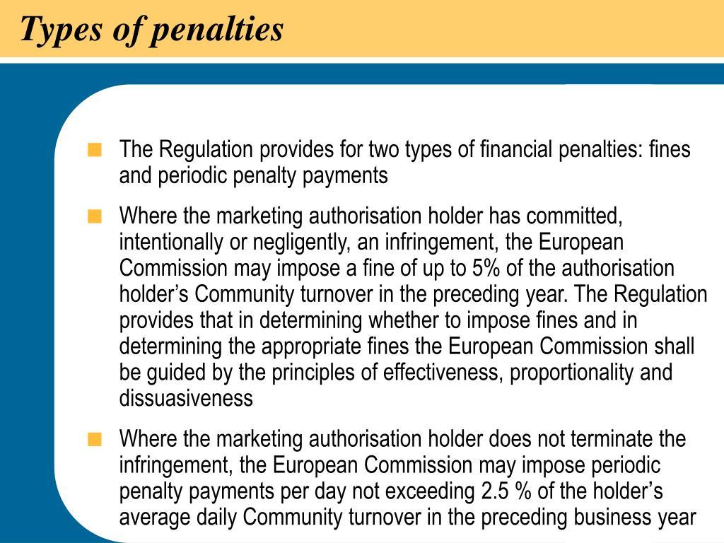 Types of penalties