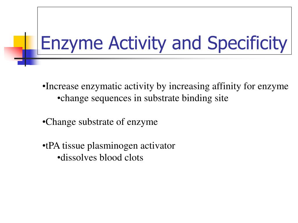 Enzyme Activity and Specificity