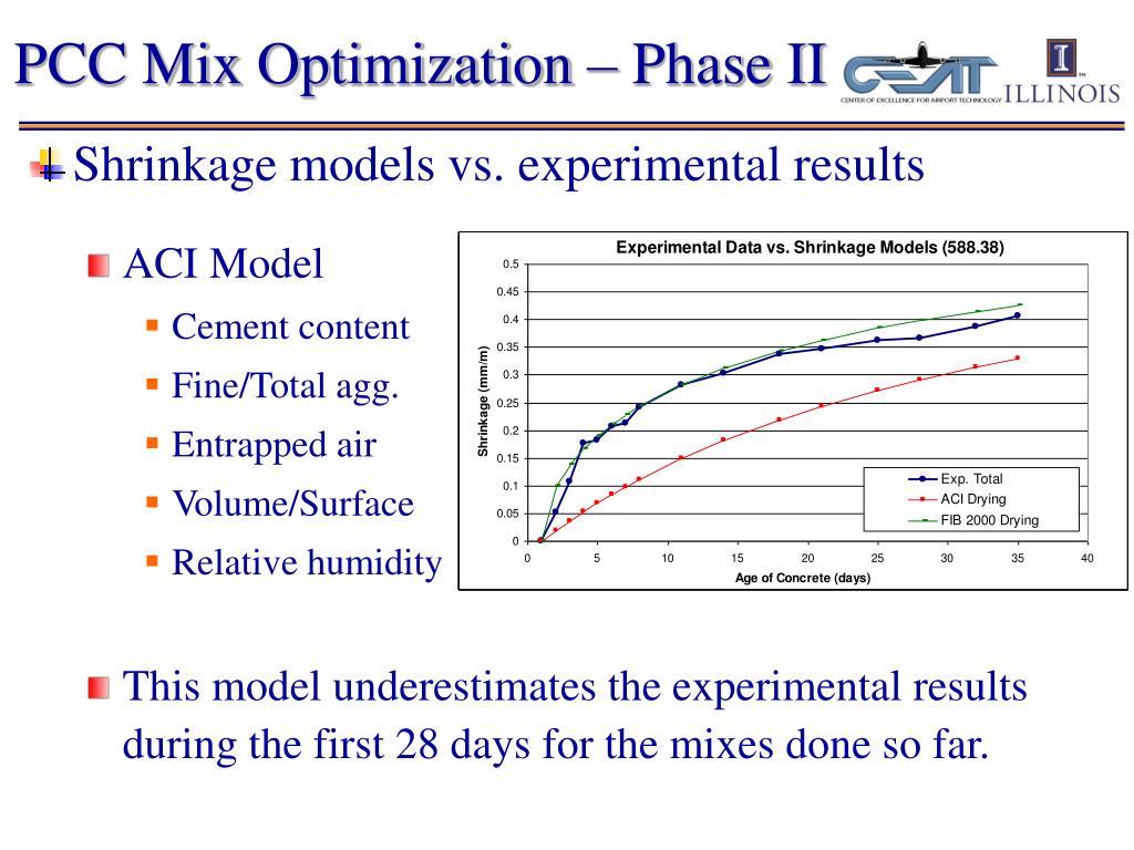PCC Mix Optimization – Phase II