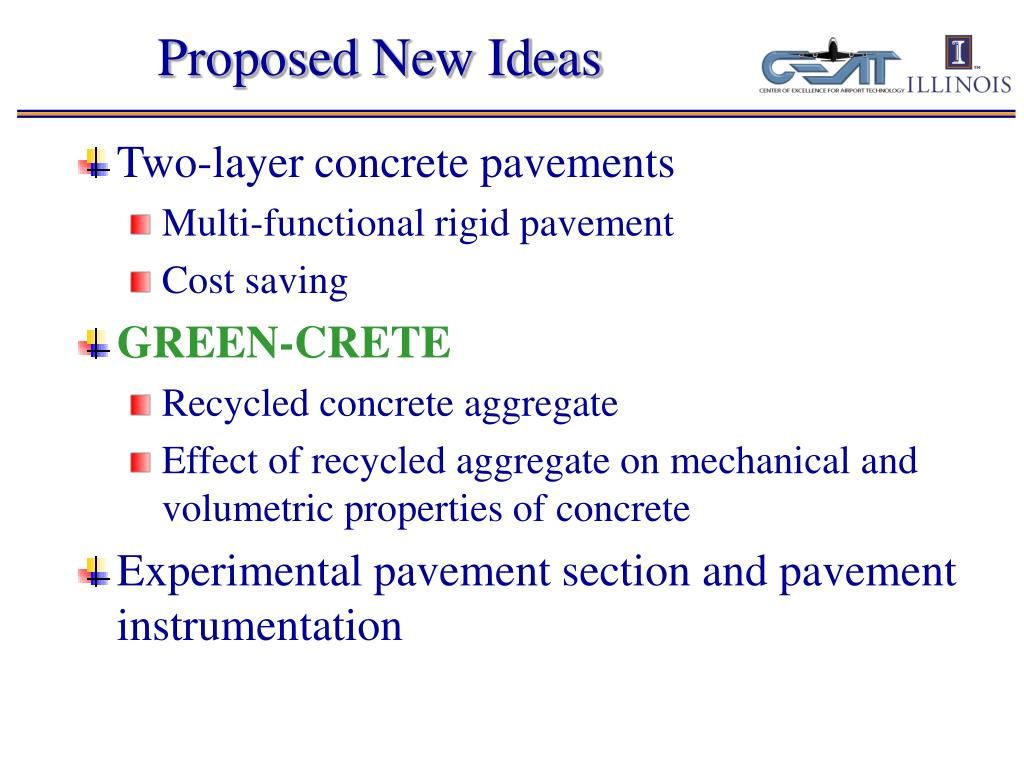 Proposed New Ideas