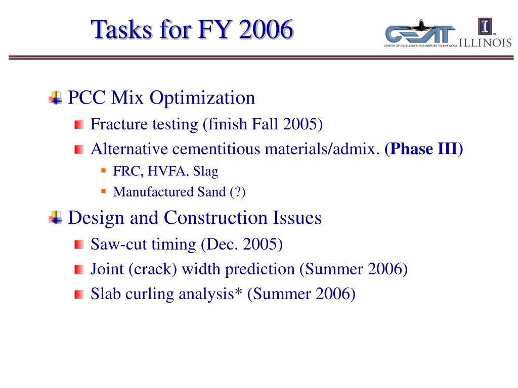 Tasks for FY 2006