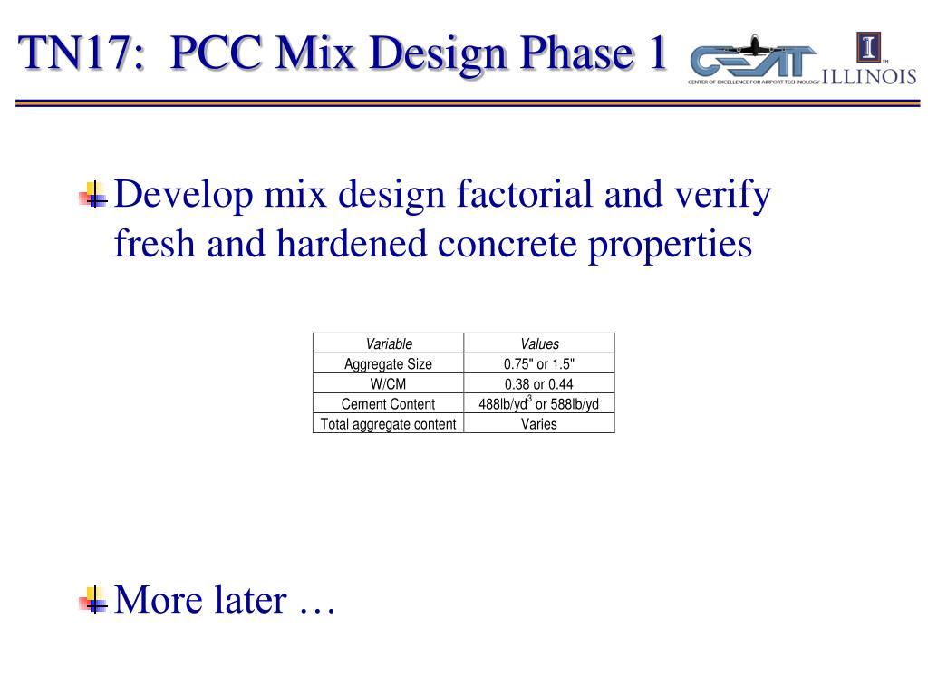 TN17:  PCC Mix Design Phase 1