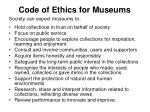 code of ethics for museums