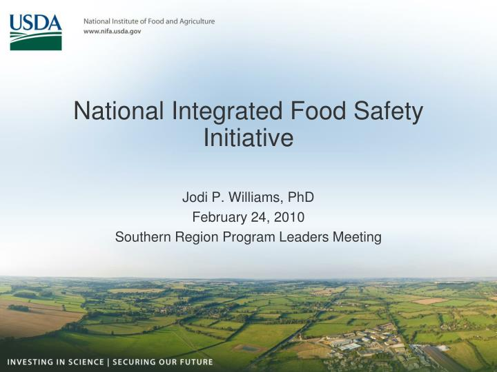 national integrated food safety initiative n.