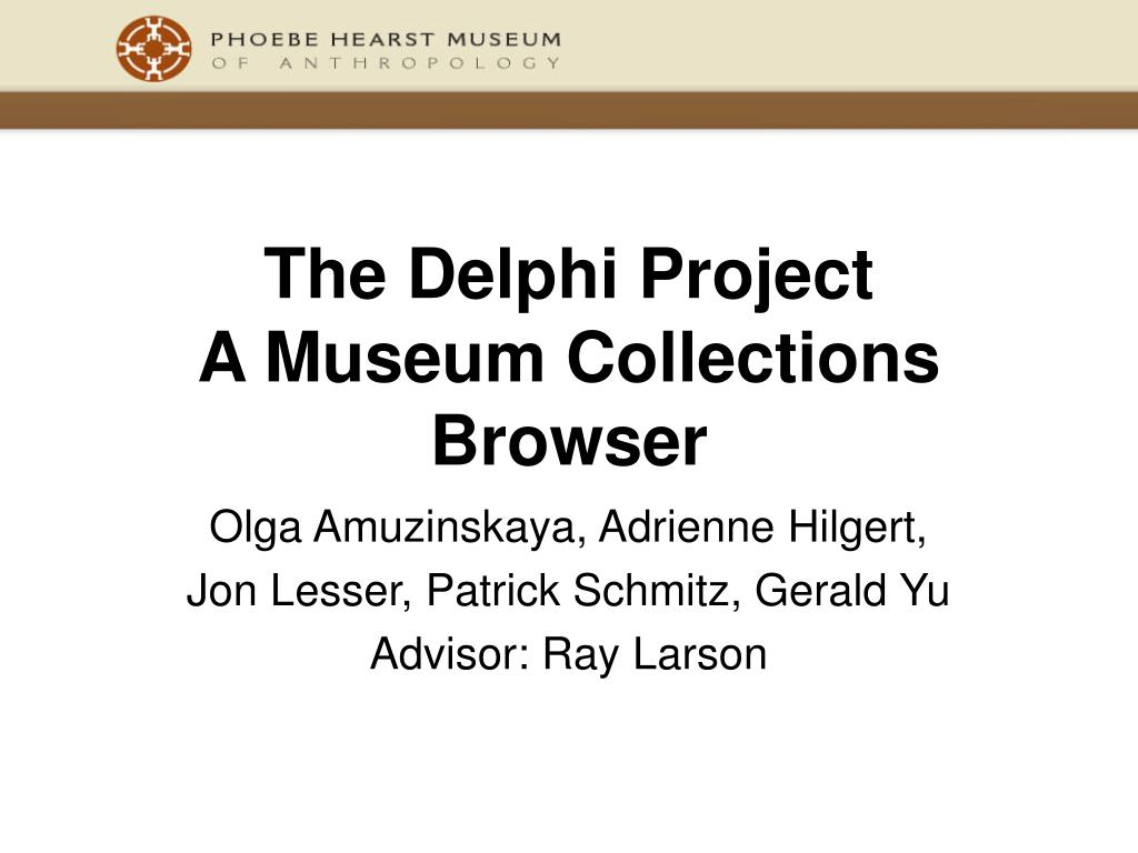 the delphi project a museum collections browser l.
