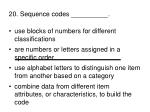 20 sequence codes