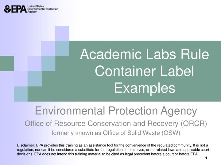 Academic labs rule container label examples