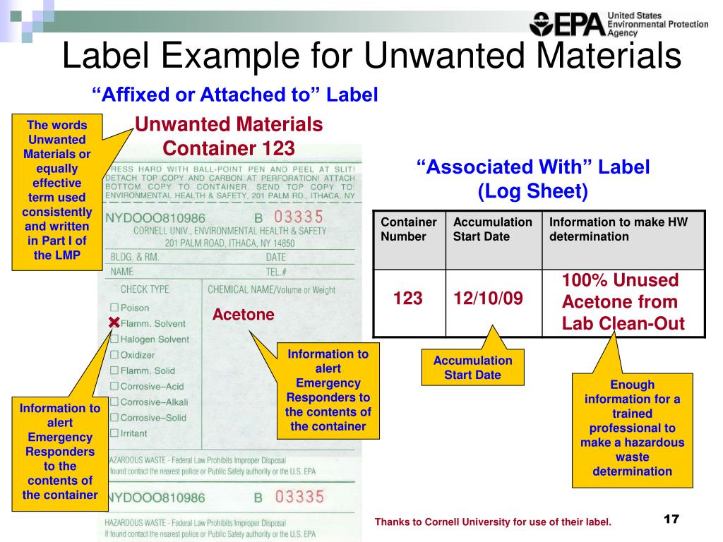 Label Example for Unwanted Materials