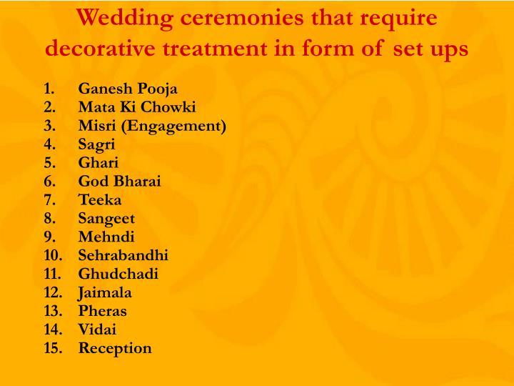 Wedding ceremonies that require  decorative treatment in form of set ups