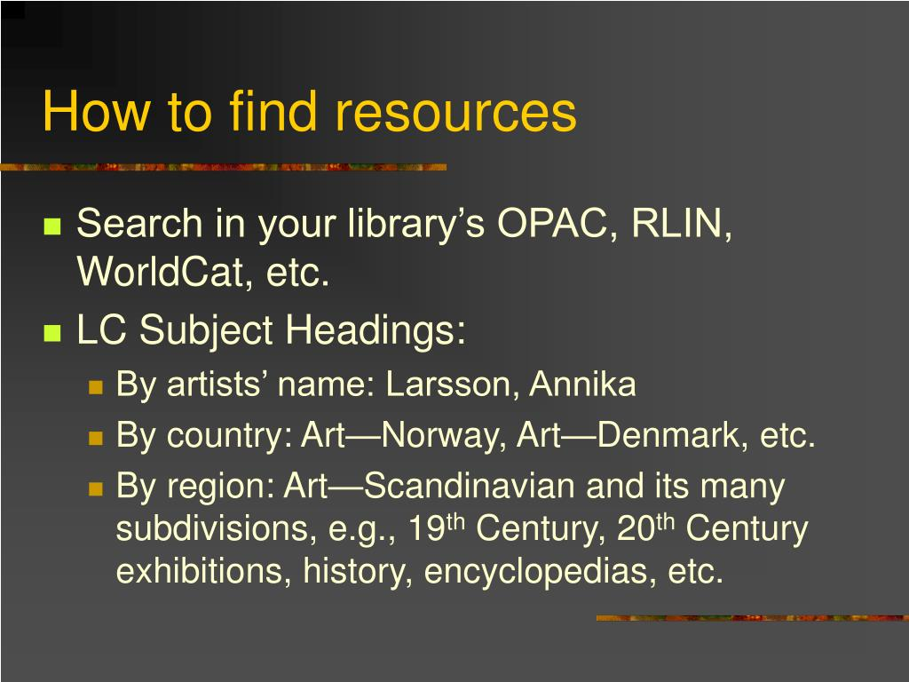 How to find resources