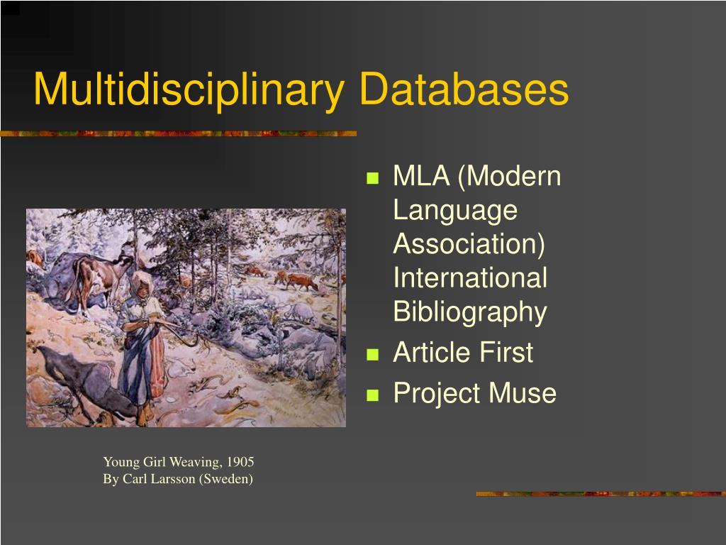 Multidisciplinary Databases