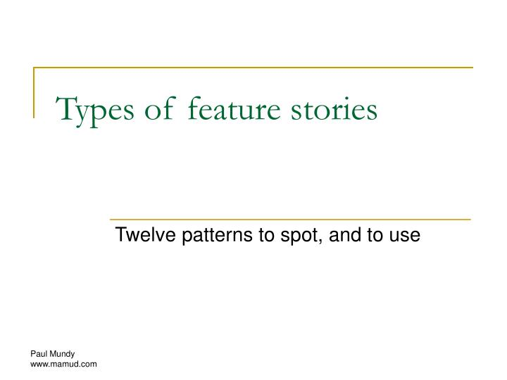 Types of feature stories