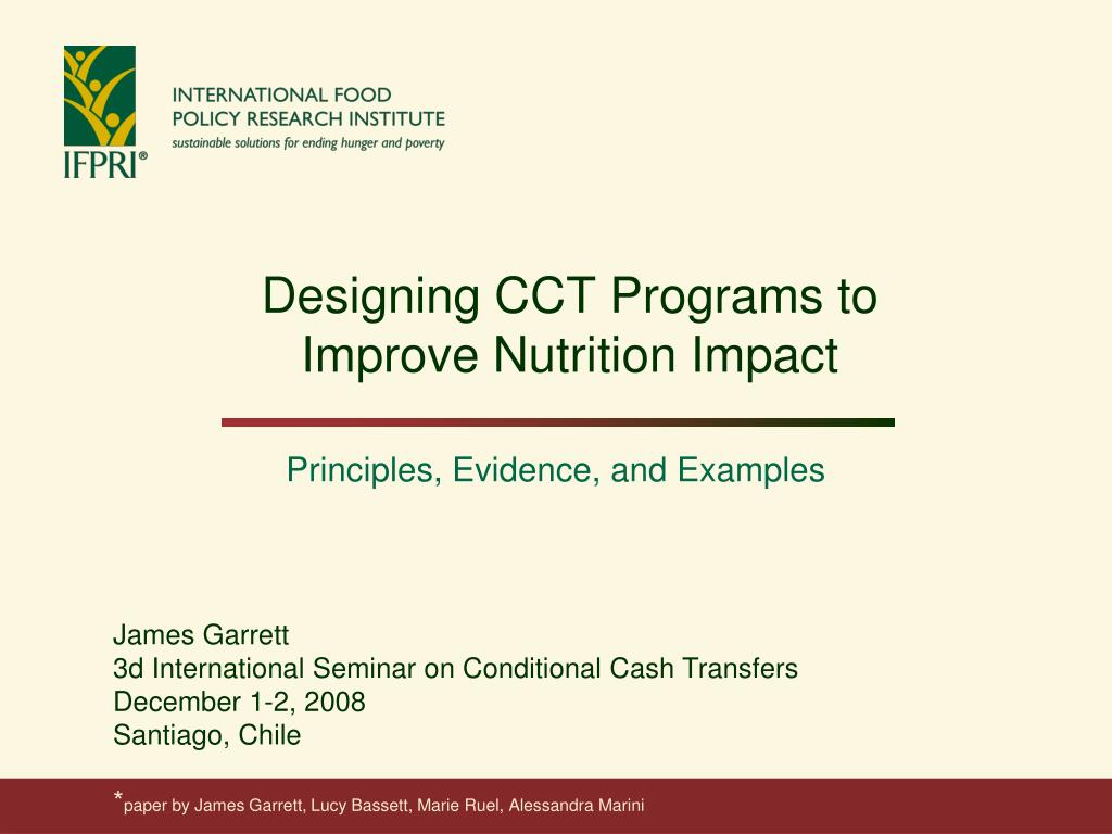 designing cct programs to improve nutrition impact l.