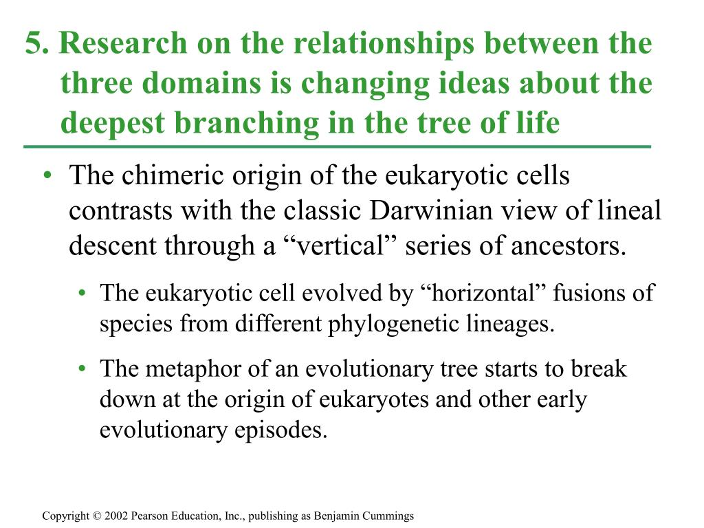 "The chimeric origin of the eukaryotic cells contrasts with the classic Darwinian view of lineal descent through a ""vertical"" series of ancestors."