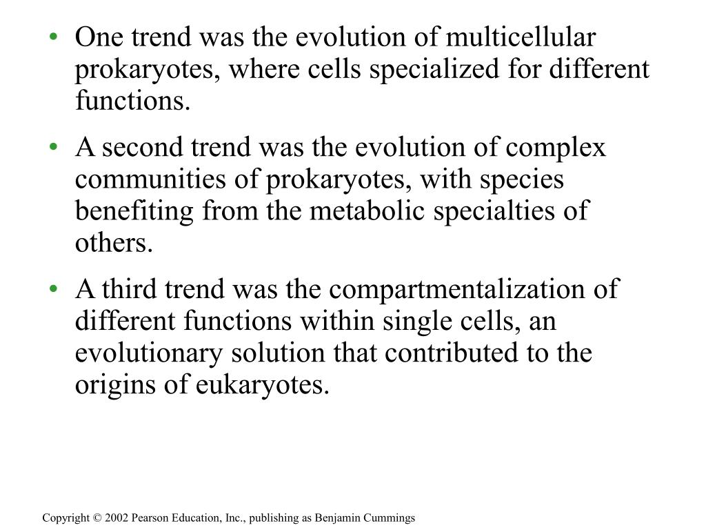 One trend was the evolution of multicellular prokaryotes, where cells specialized for different functions.