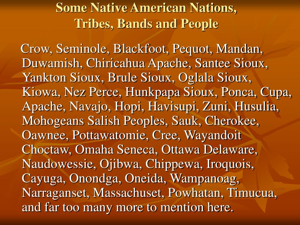 Some Native American Nations,