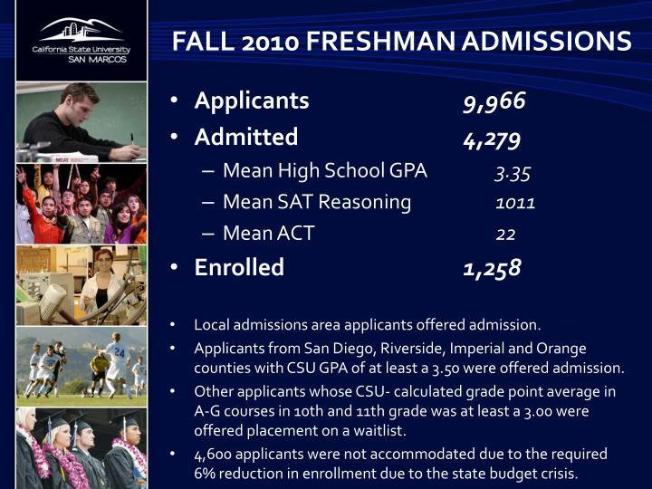 Fall 2010 freshman admissions