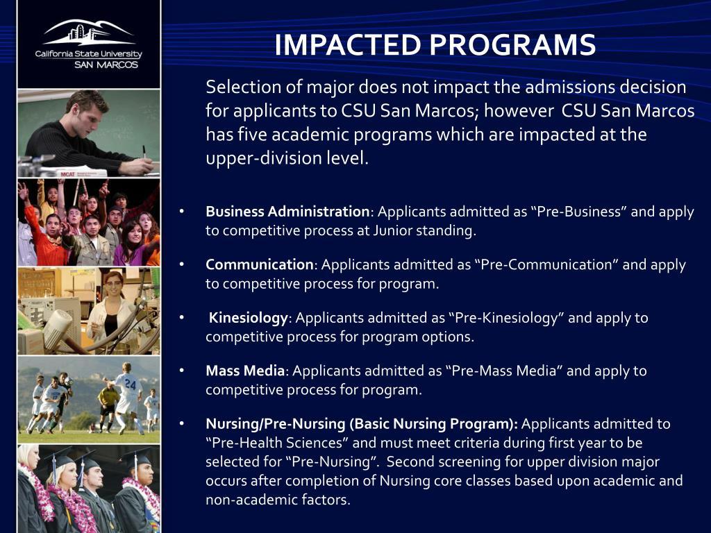 Impacted programs