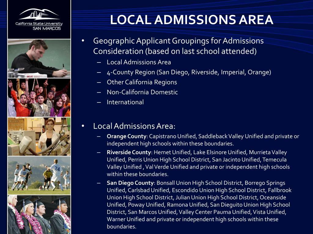 Local admissions area