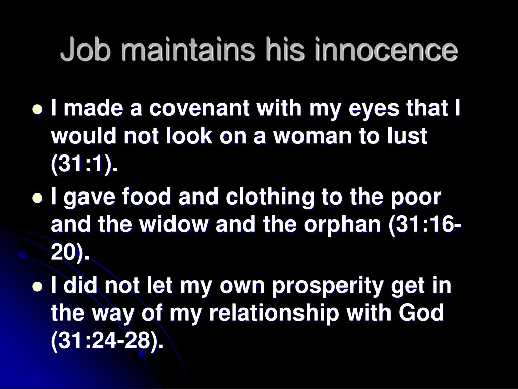 Job maintains his innocence