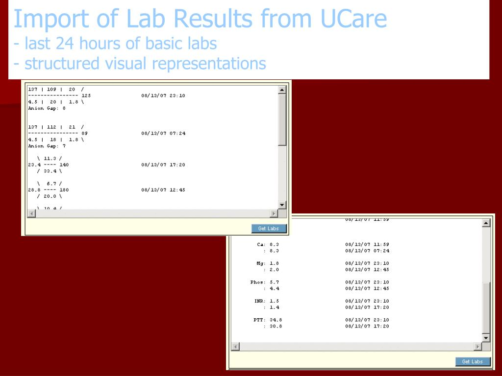 Import of Lab Results from UCare