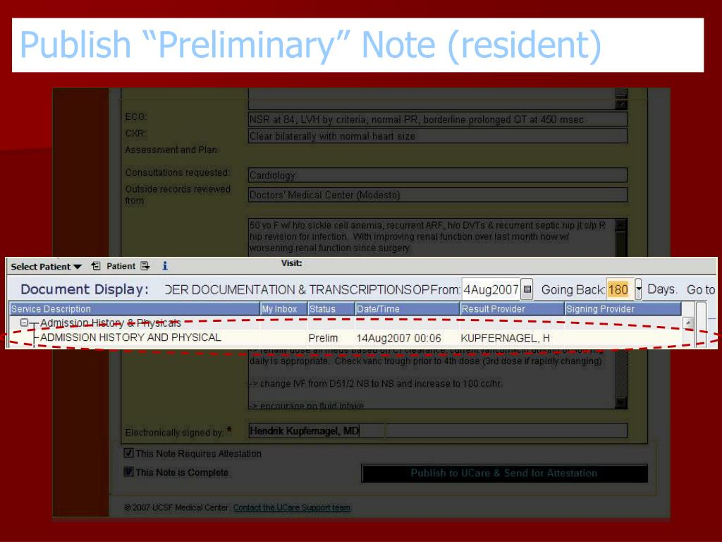 """Publish """"Preliminary"""" Note (resident)"""