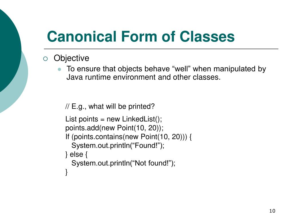 Canonical Form of Classes