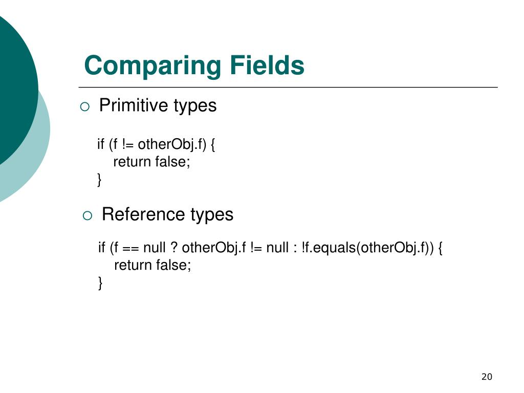 Comparing Fields