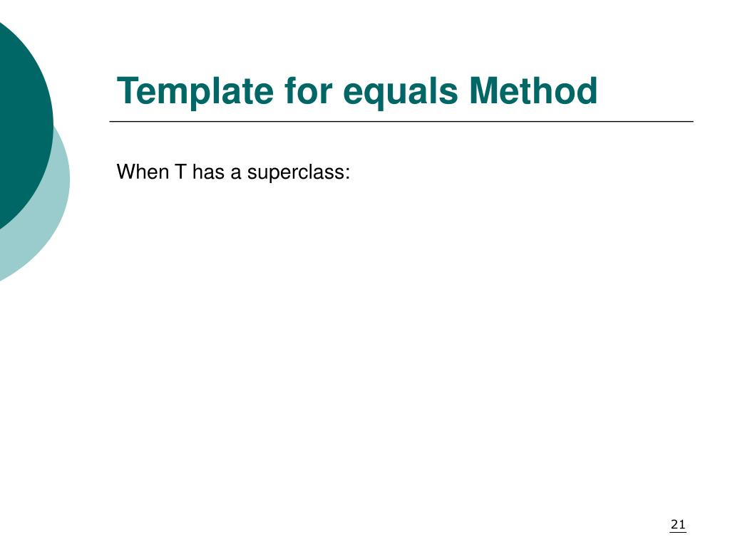 Template for equals Method