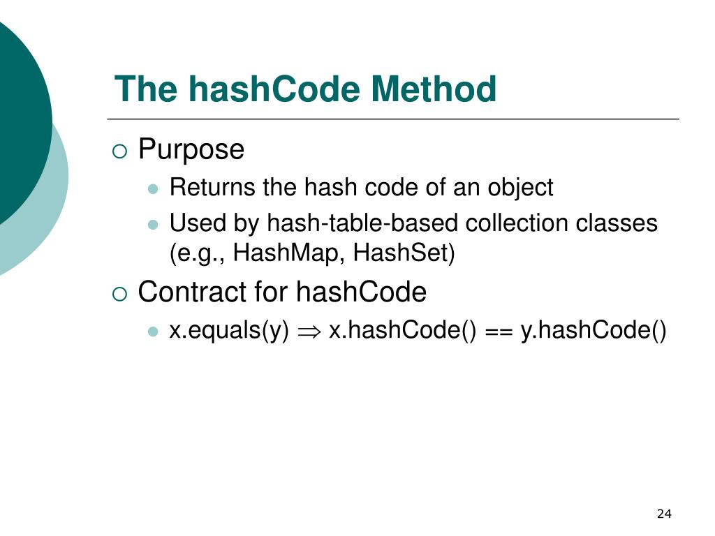 The hashCode Method