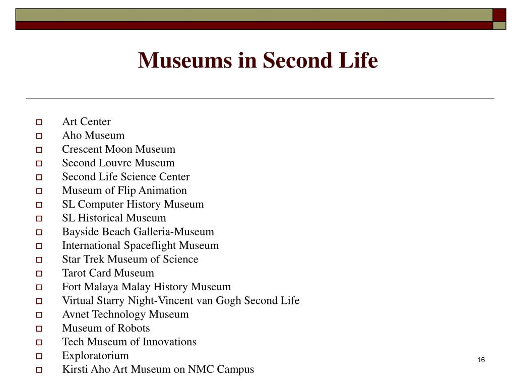 Museums in Second Life