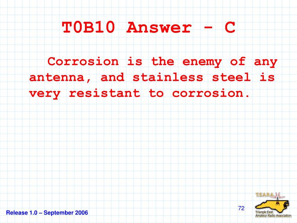 T0B10 Answer - C