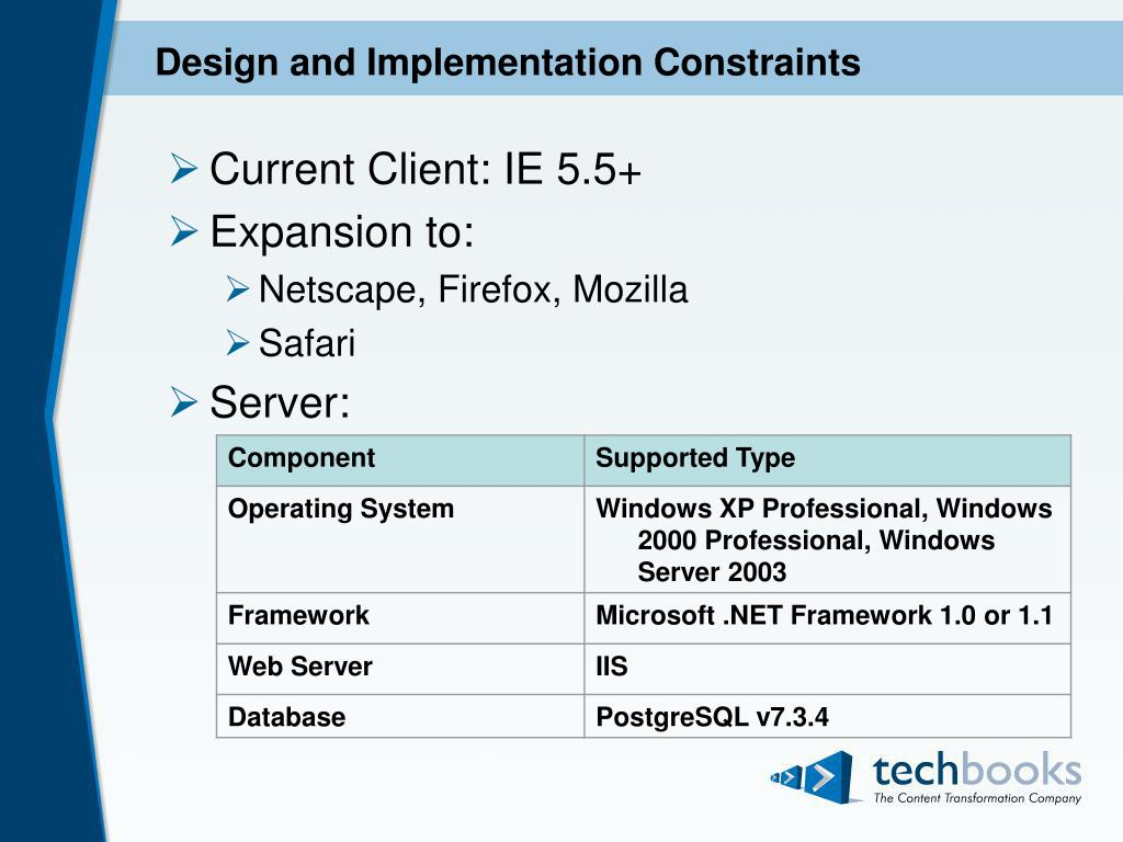 Design and Implementation Constraints