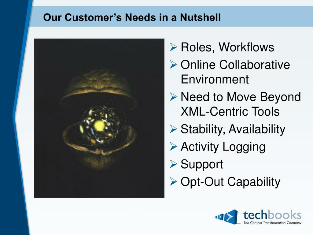 Our Customer's Needs in a Nutshell
