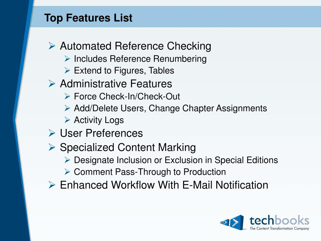 Top Features List