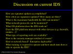 discussion on current ids