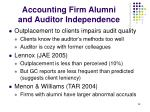 accounting firm alumni and auditor independence