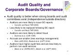 audit quality and corporate boards governance