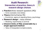 audit research i ntersection of practice theory research design choices