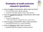 examples of audit outcome research questions