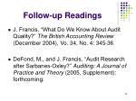 follow up readings