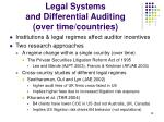 legal systems and differential auditing over time countries