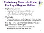 preliminary results indicate that legal regime matters