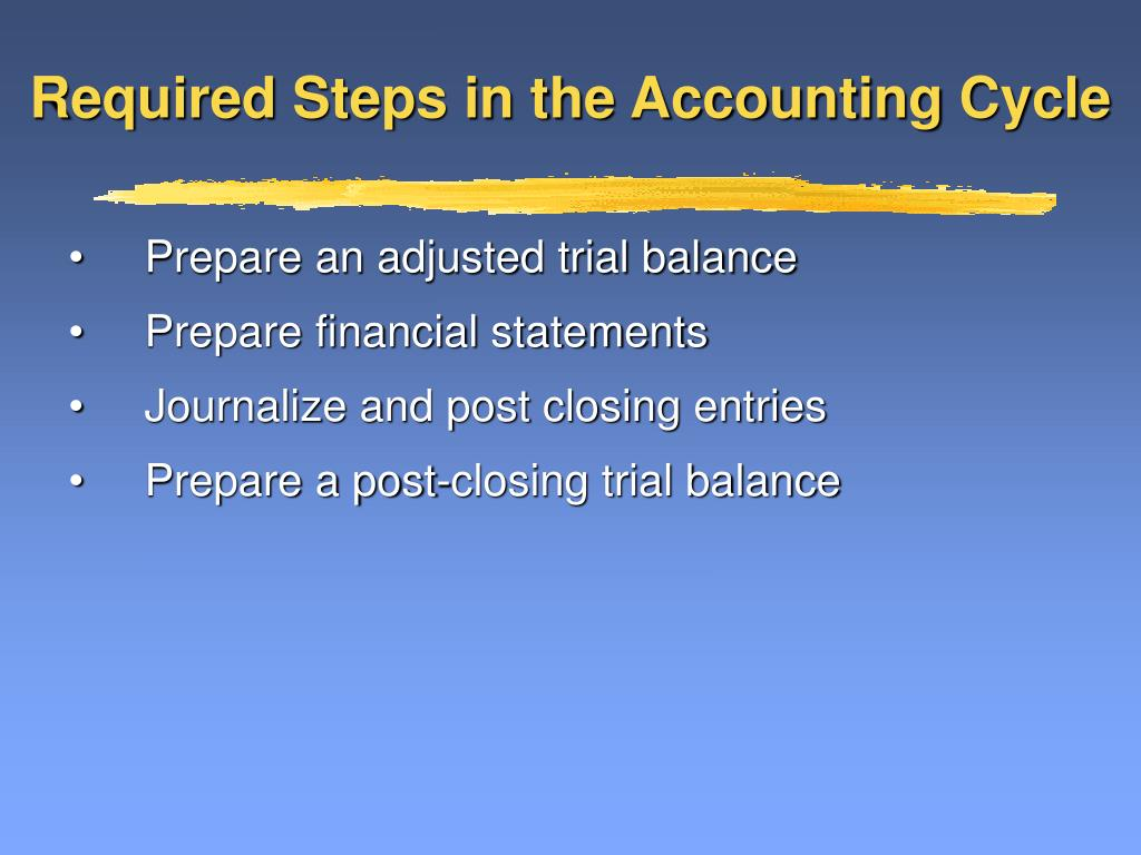 Required Steps in the Accounting Cycle