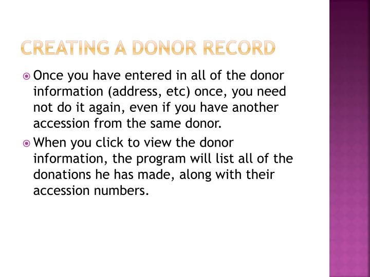 Creating a donor record