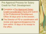 pre approval process for salary credit for prof development