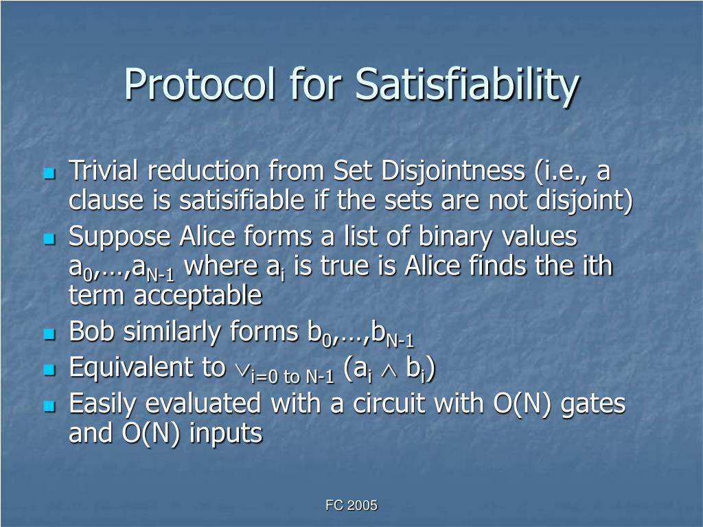 Protocol for Satisfiability