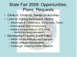 state fair 2009 opportunities plans requests