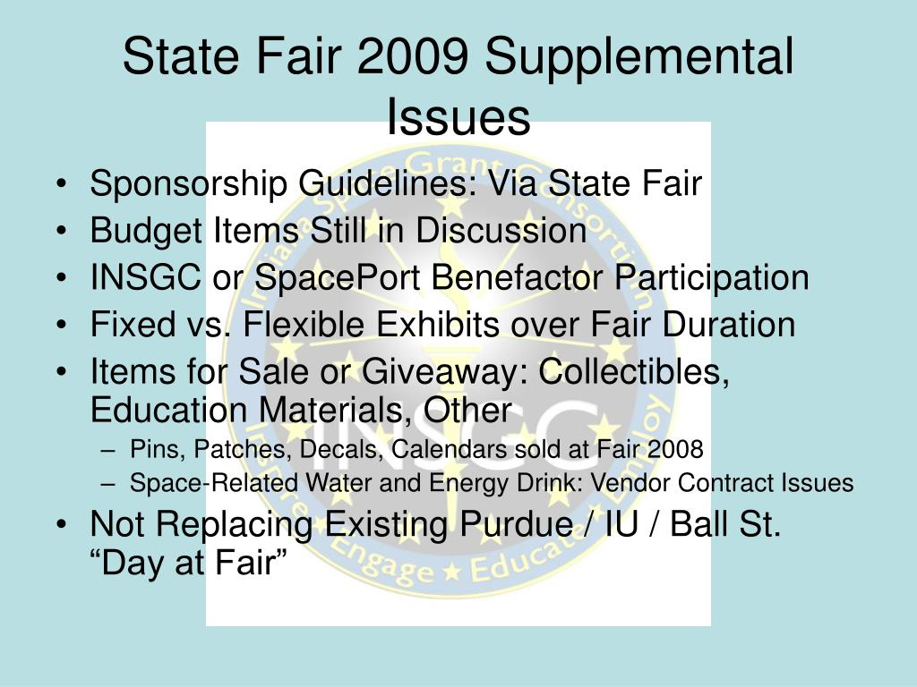 State Fair 2009 Supplemental Issues